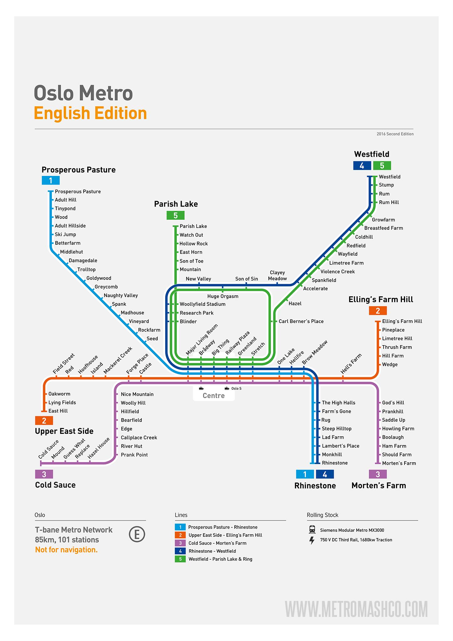 Oslo Metro Map: Literal English Translation A2 Art Poster