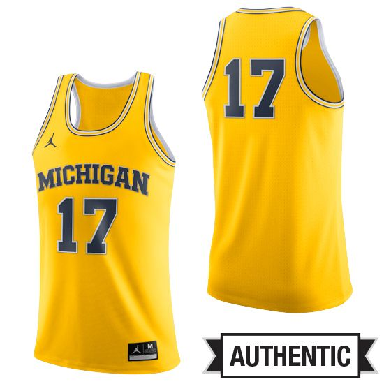 buy online 9641e 4ef8d Jordan University of Michigan Basketball Yellow Authentic ...