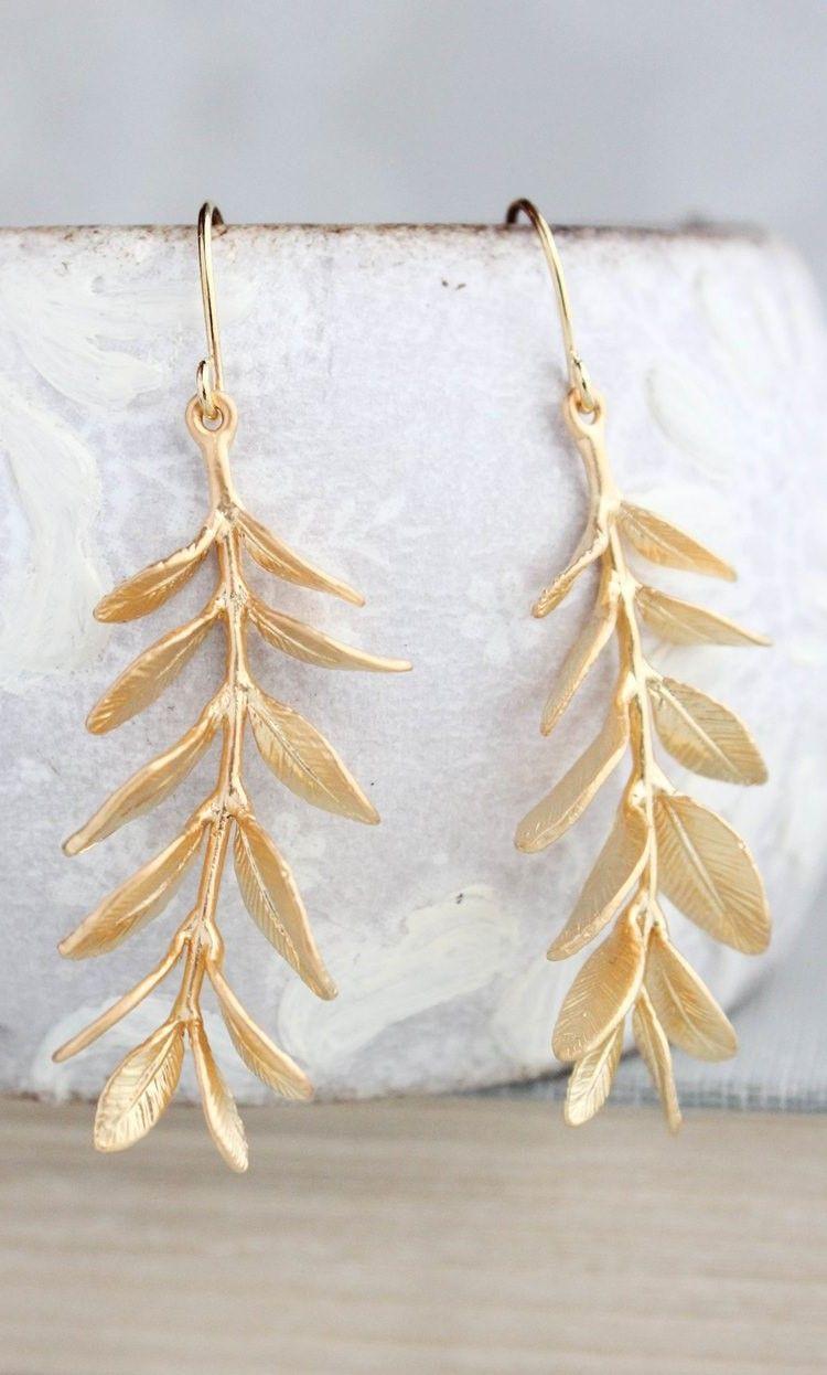 Statement Ginkgo Leaf Dangle modern golden earrings Nature inspired dangle earrings Statement leaf earrings Large golden dangle earrings
