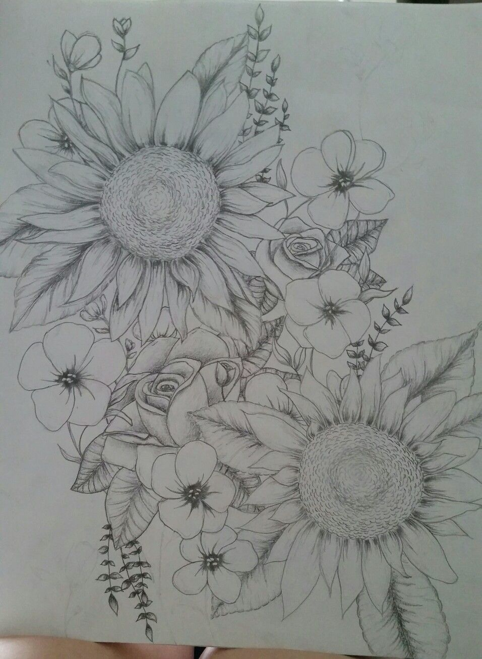 Sunflowers and roses possible tattoo tattoos pinterest