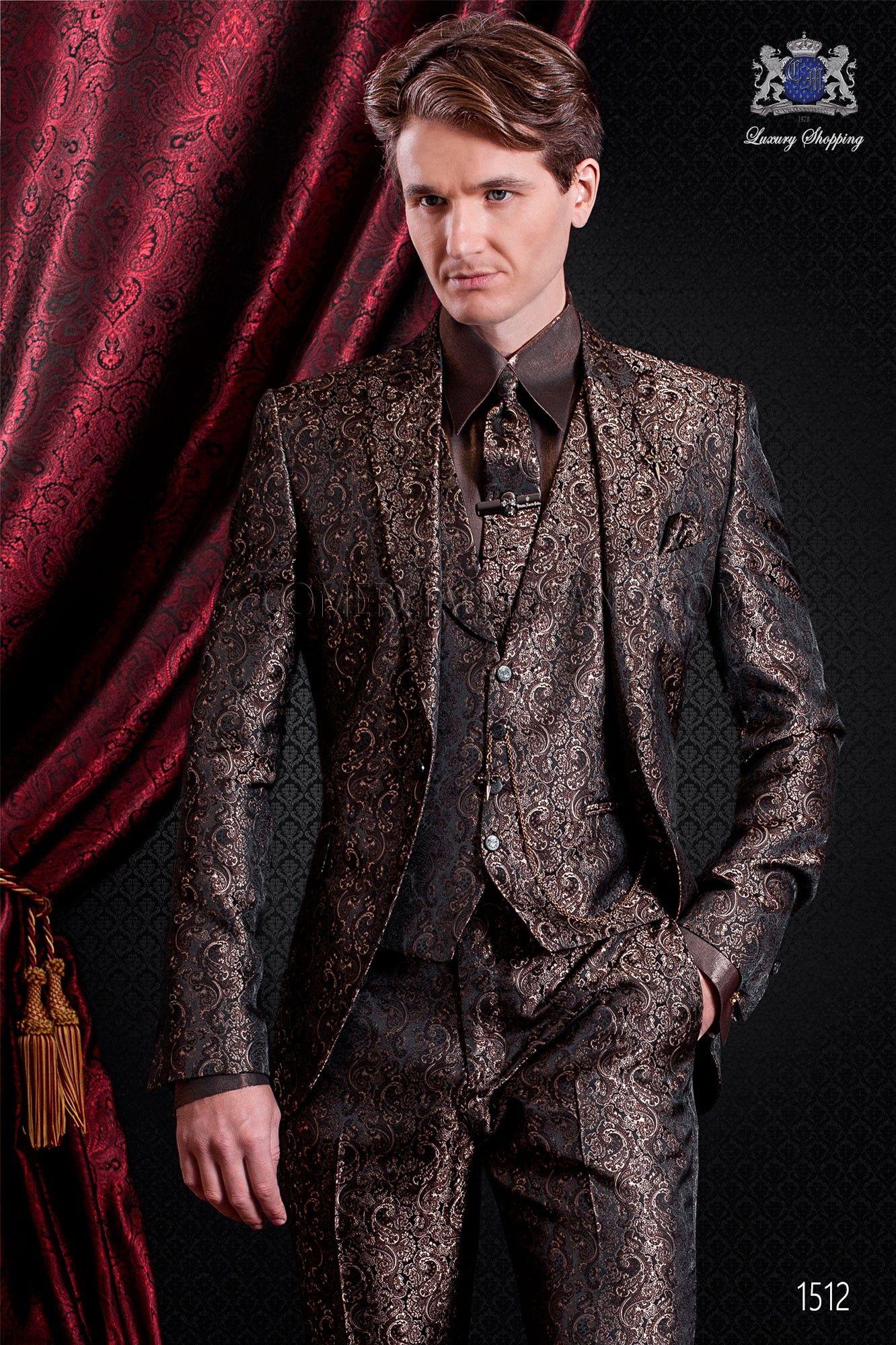 Traje de moda italiano jacquard marrón. Solapa de punta con 1 botón ... ffad3b87509