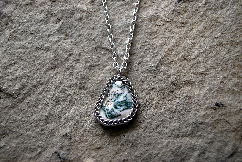 Tree Agate Pendant Triangle Pendant Healing Crystal Necklace Chakra Jewelry Heart Chakra Jewelry Natural Stone Spiritual Jewelry Crystal Necklace Healing Agate Pendant Chakra Jewelry