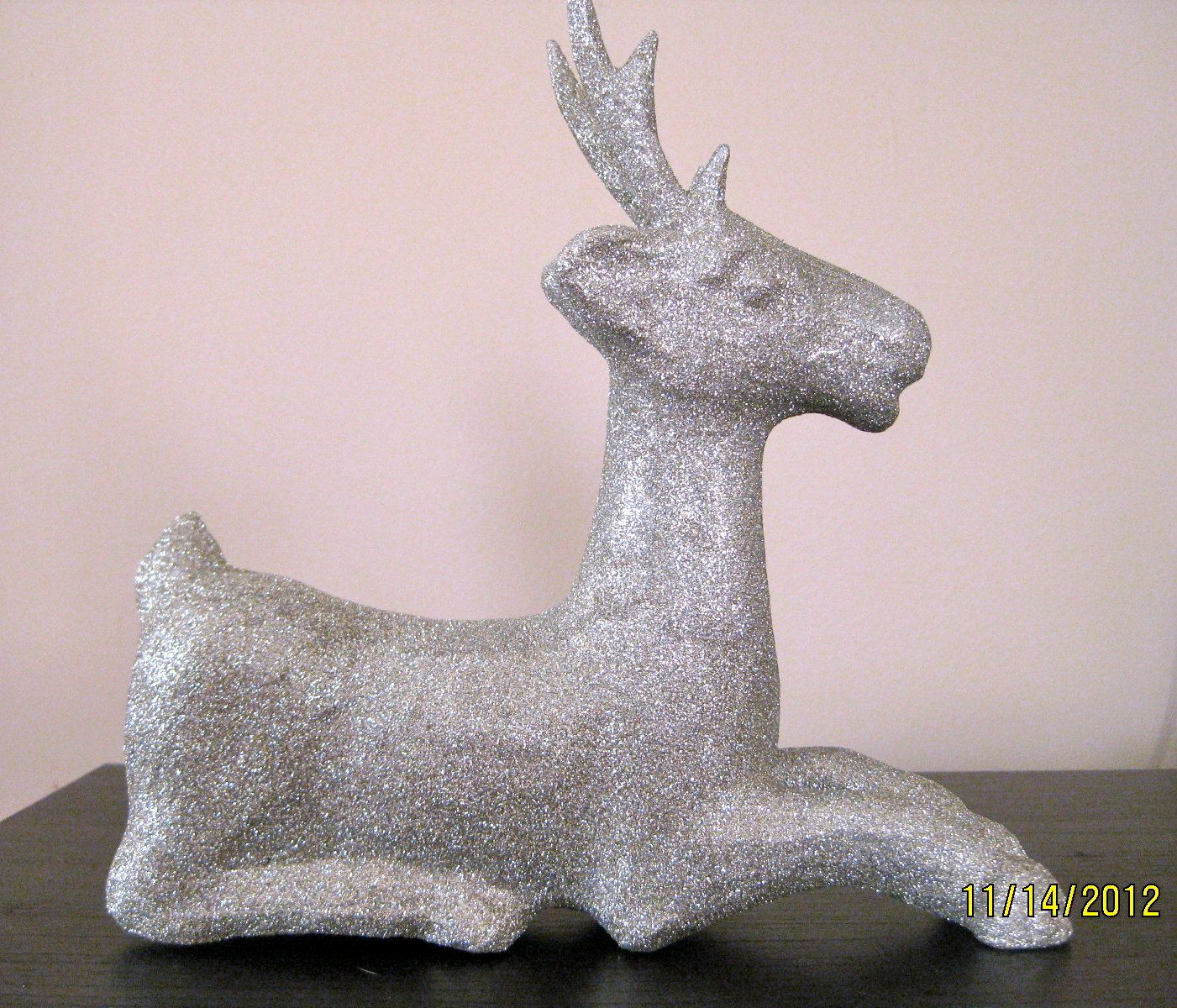 Christmas Glittered Reindeer Laying Down Decoration by RobinLynnF on etsy
