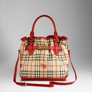 3f0551ff1802 Burberry Haymarket Colour Shoulder Bag in Military Red