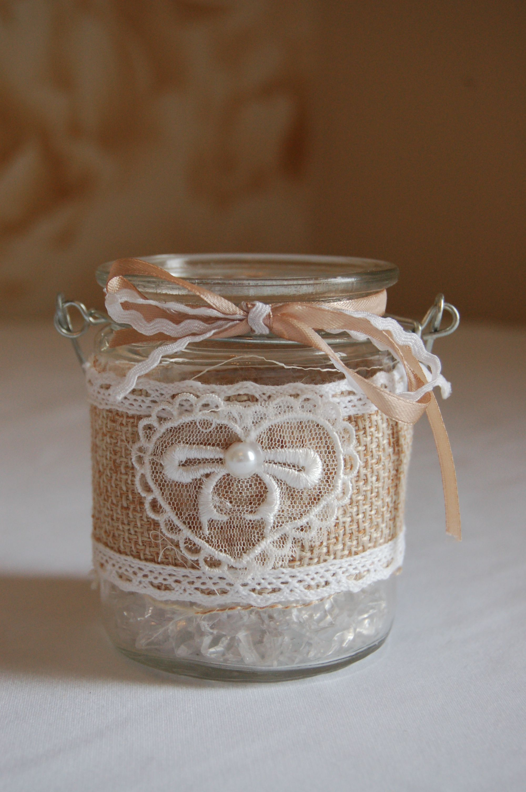Hessian and lace covered tealight holder