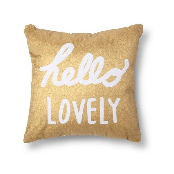 Xhilaration Hello Lovely Decorative Pillow Gold/White (105 PLN) ❤ liked on Polyvore featuring home, home decor, throw pillows, pillows, gold, white accent pillows, white throw pillows, white home decor, white toss pillows and gold home decor