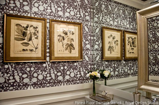 Gorgeous Faux Wallpaper Effect With Stencils Via The Painted Room
