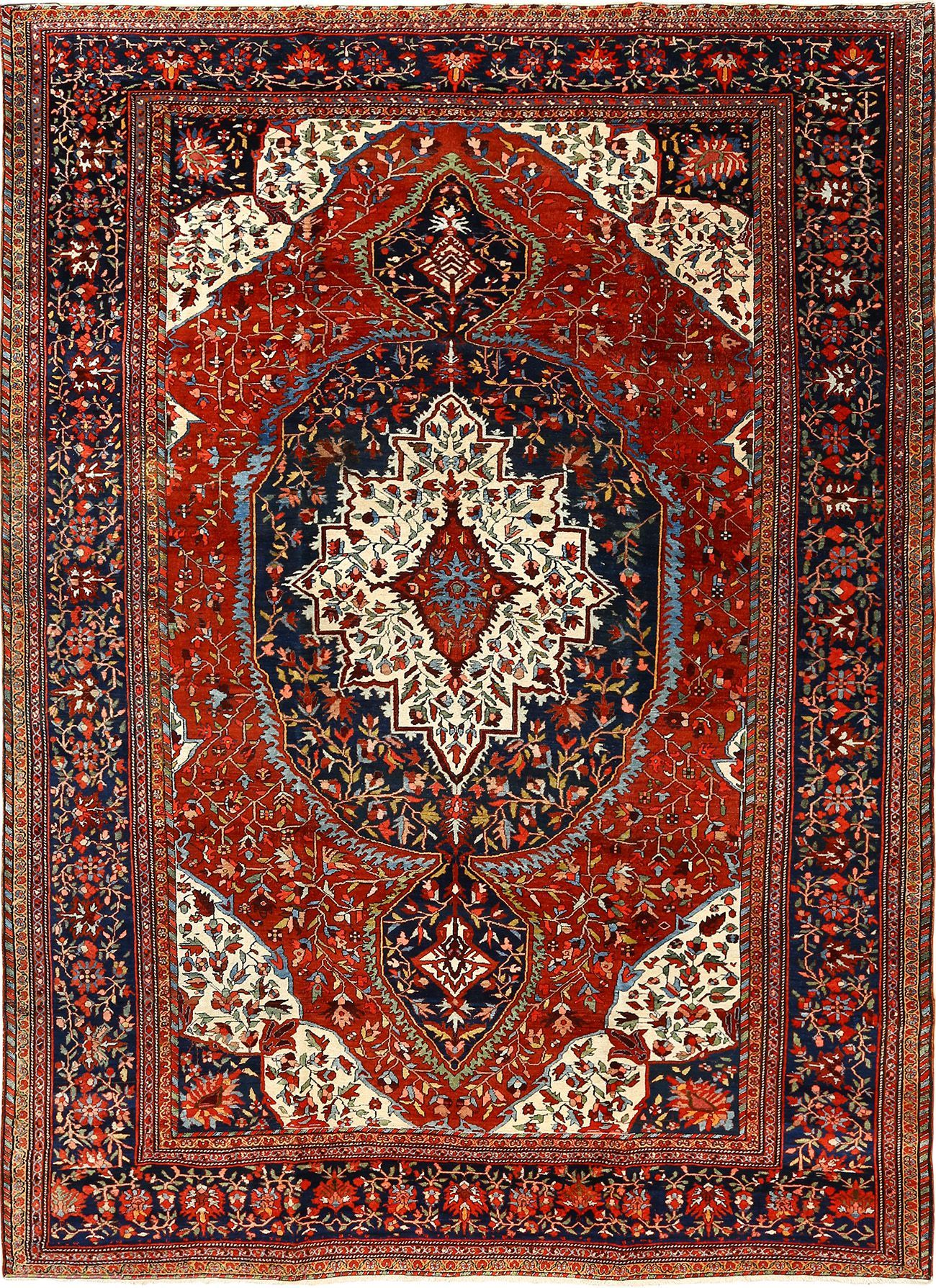 Antique Red Background Sarouk Farahan Persian Rug 51095 Persian Rug Antique Persian Rug Rugs
