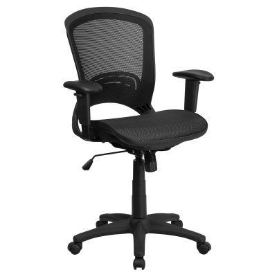 Flash Furniture Mid-Back Executive Swivel Office Chair with Mesh Seat and Back and Height Adjustable Arms - HL-0007T-GG