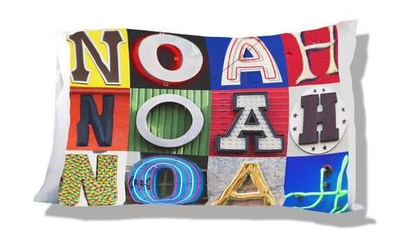 Personalized Pillow Case featuring NOAH in sign letters; Custom pillowcases; Teen bedroom decor; Coo