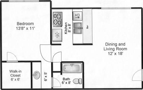 1 Bedroom Apartment Floor Plans 500 Sf Plan1 300x189 Square Feet Plan
