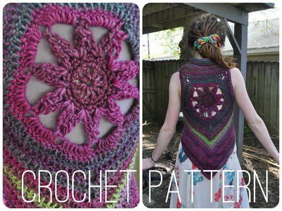Crochet Pattern Blossom Mandala Vest Pattern Easy Womens