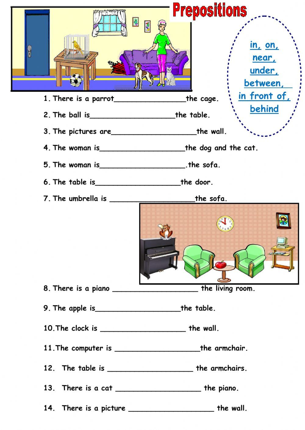 Prepositions of place interactive and downloadable worksheet. Check your  answers online…   Preposition worksheets [ 1411 x 1000 Pixel ]