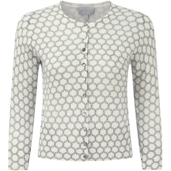 Pure Collection Campion Cashmere Crop Cardigan, Soft White/Navy ...