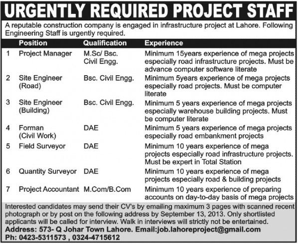 URGENTLY REQUIRED PROJECT STAFF I A reputable construction company - staff accountant job description