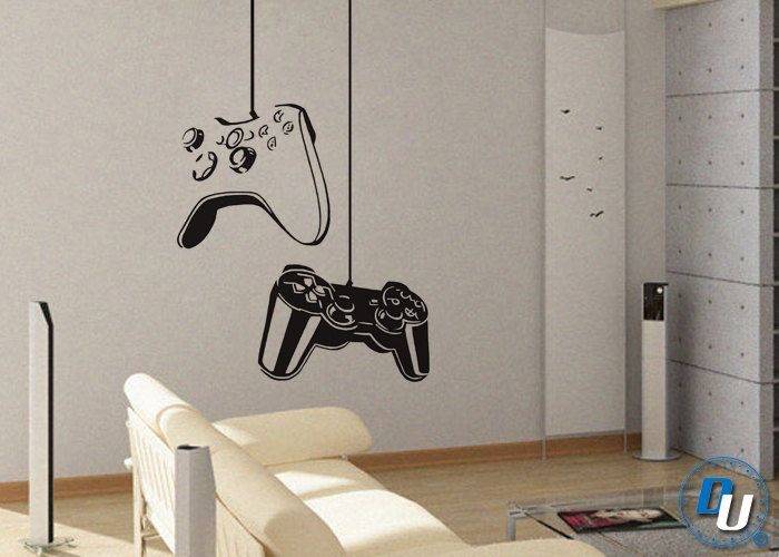 Boy Gamer Wall Stickers Murals Vinyl Art Design Gamers World Wall Decor for Teen Kids Bedroom Playroom Home Decoration Wallpaper Gamer with Controller Wall Decal