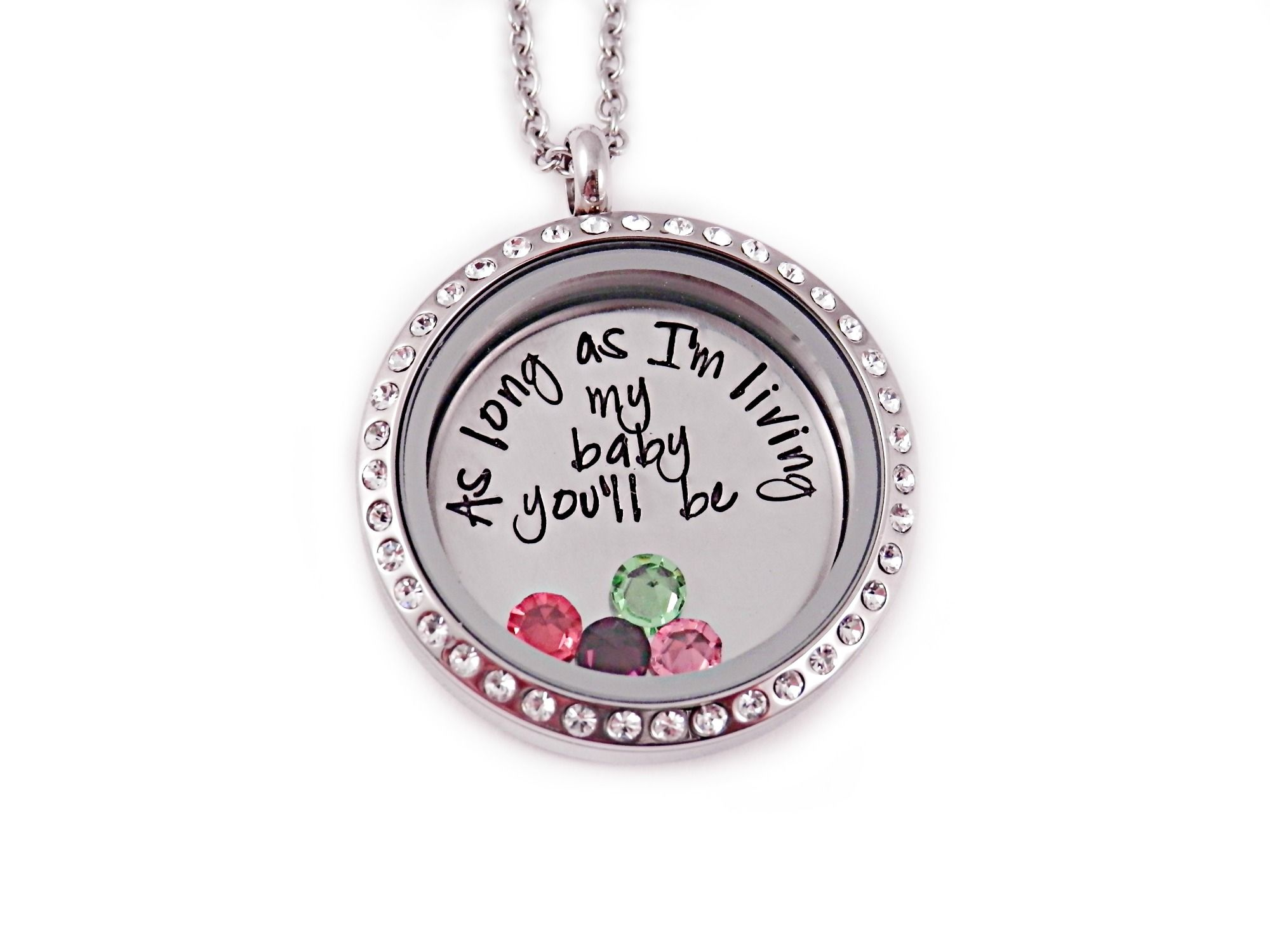 Personalized Hand Stamped Necklace I love you a bushel and a peck Living Locket Plate