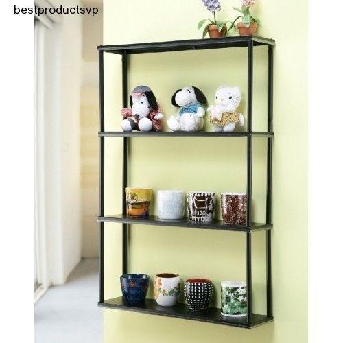 Hanging Metal Wall Shelf Narrow Mounted Black Slim Kitchen ...
