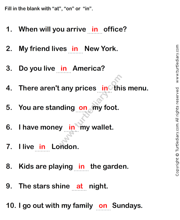 Prepositions Worksheet2 - esl-efl Worksheets - grade-1 ...
