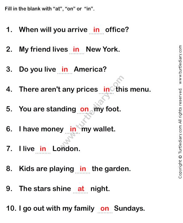 Prepositions Worksheet2 Esl Efl Worksheets Grade 1 Worksheets Learn English Words Prepositions Basic Sight Words