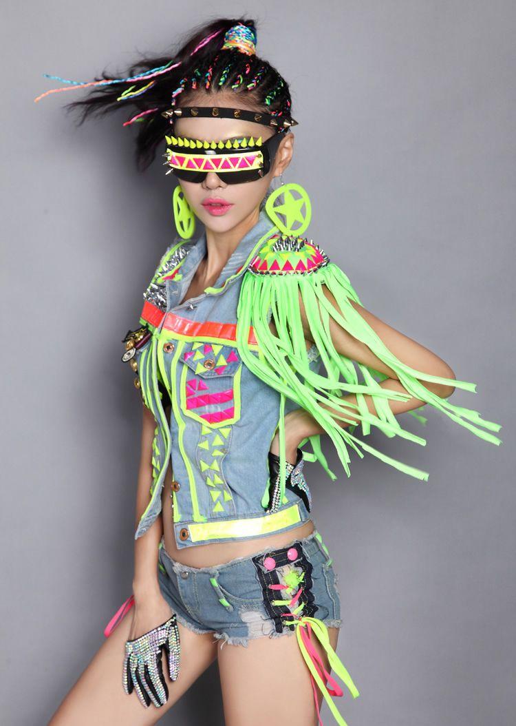 neon fluorescent denim outfit. neon fluorescent denim outfit Hip Hop  Costumes 44b6a272274a