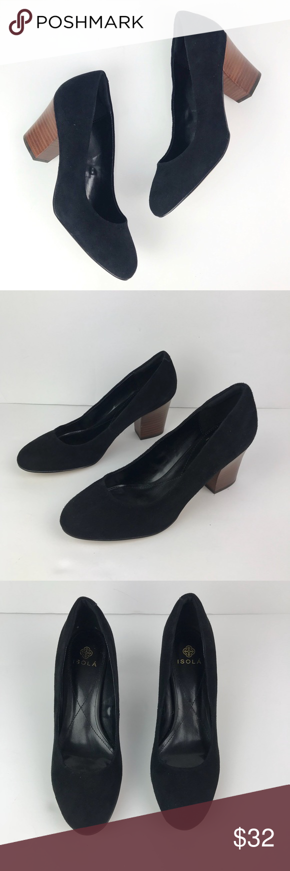 d383afb74d46 Isola Black Suede Wood Heel Pumps Size 9.5 Great pre-owned condition! Emma  Lee Black Suede Pumps With Wood Heel Isola Shoes Heels