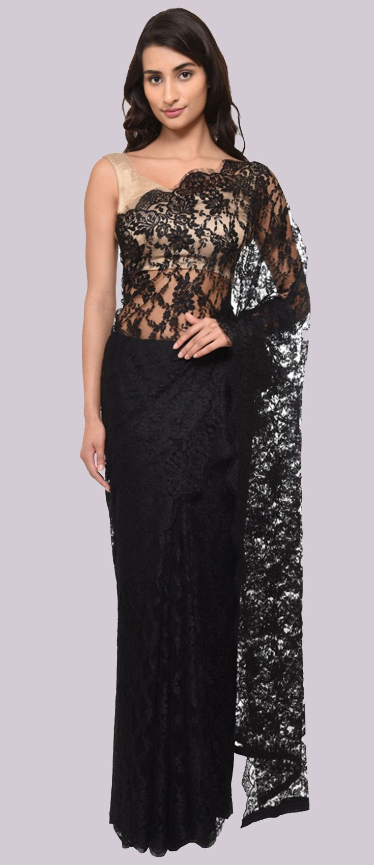 Black French Chantilly Lace Saree With Crepe Tissue Blouse