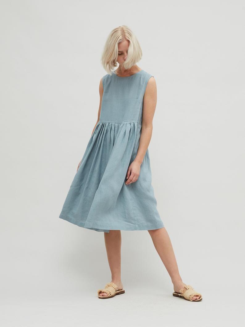 April Minimal Linen Dress Oversized Linen Dress Smock Etsy Dresses Linen Summer Outfits Linen Dress Outfit [ 1059 x 794 Pixel ]