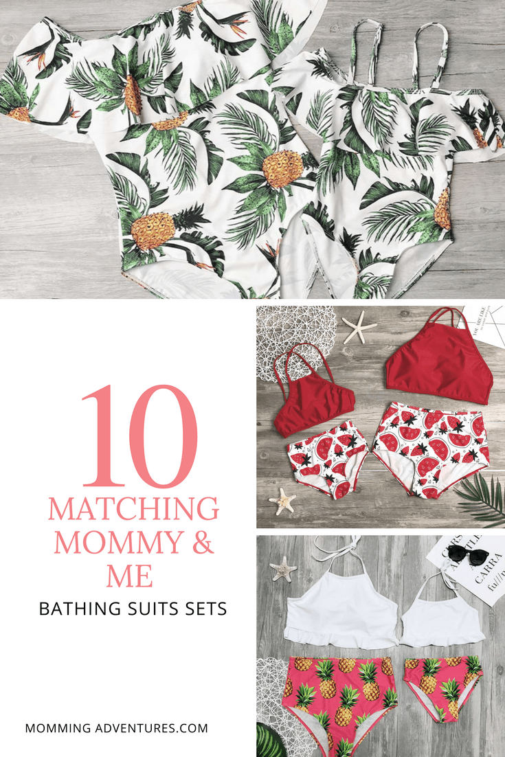 3640d9a2f468d Mommy and me matching bathing suit sets. Look stylish by the pool matching  with your toddler! #matching #mommyandme #summerfashion #swimsuit # bathingsuits