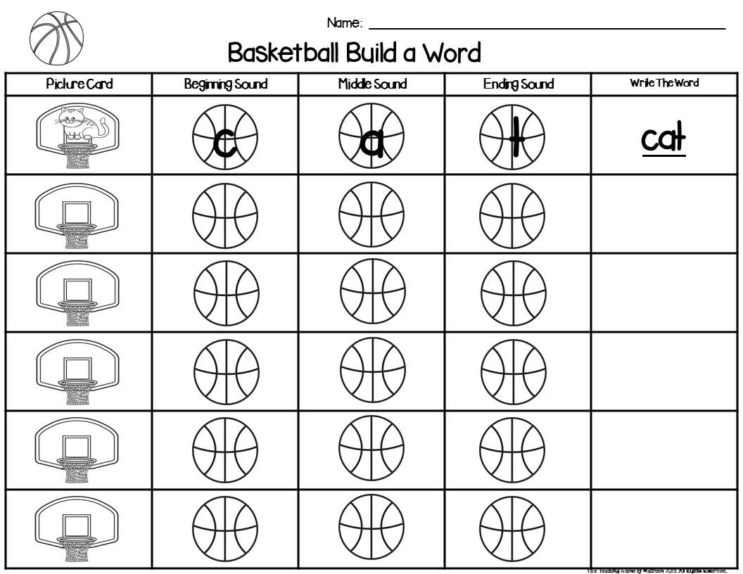 Basketball Build A Word Phonics Game For K 2nd Special
