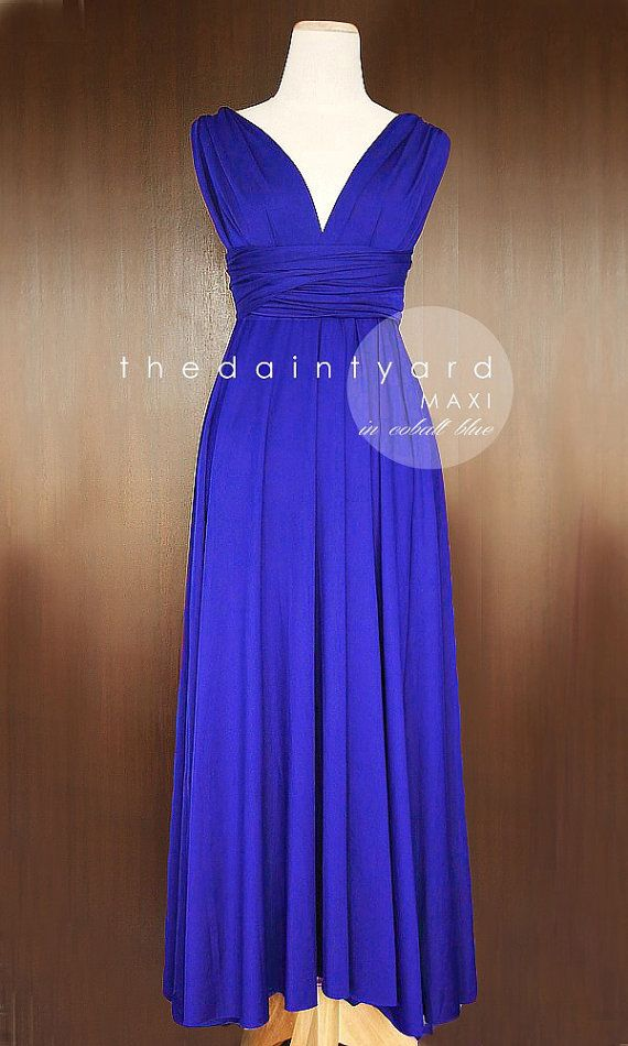 MAXI Cobalt Blue Bridesmaid Dress Convertible Dress Infinity Dress ...