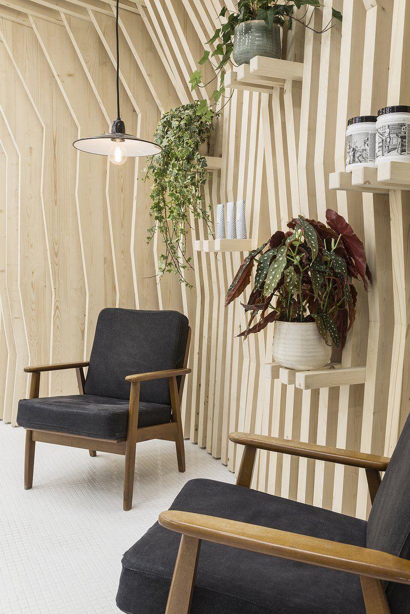 Joshua Florquin Architecture Transforms Paris Hair Salon Into Pine Forest Spa Interior Design White Mosaic Tiles Pine Wood Walls