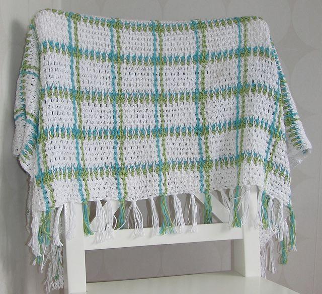 Manta con Cadenetas de Crochet por encima del punto | Tartan ...