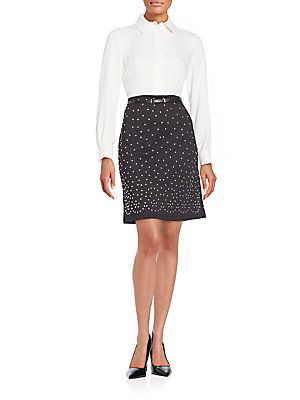 Karl Lagerfeld Mixed Media Studded Dress - Noir Blanc - Size 8