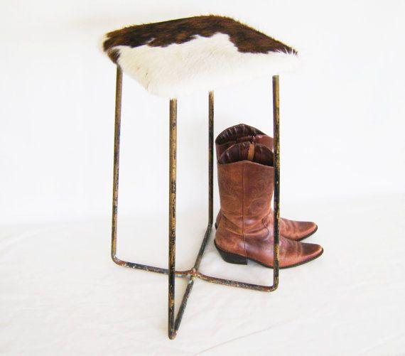 Cowhide Barstools Vintage Black White Hairhide Leather Bar: Bar Stool - Cowhide Leather Chair