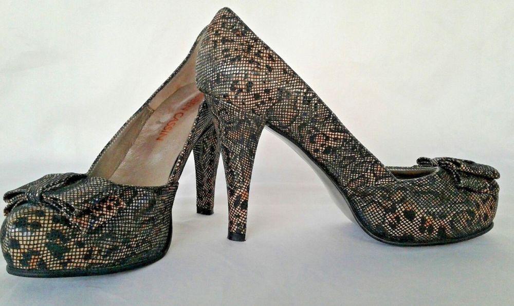 49907c0d2f15 Ruben Cassin Leopard Print Fishnet Bow Pumps Heels Brown Black Size 7 Sexy  New  RubenCassin  PumpsClassics  Clubwear