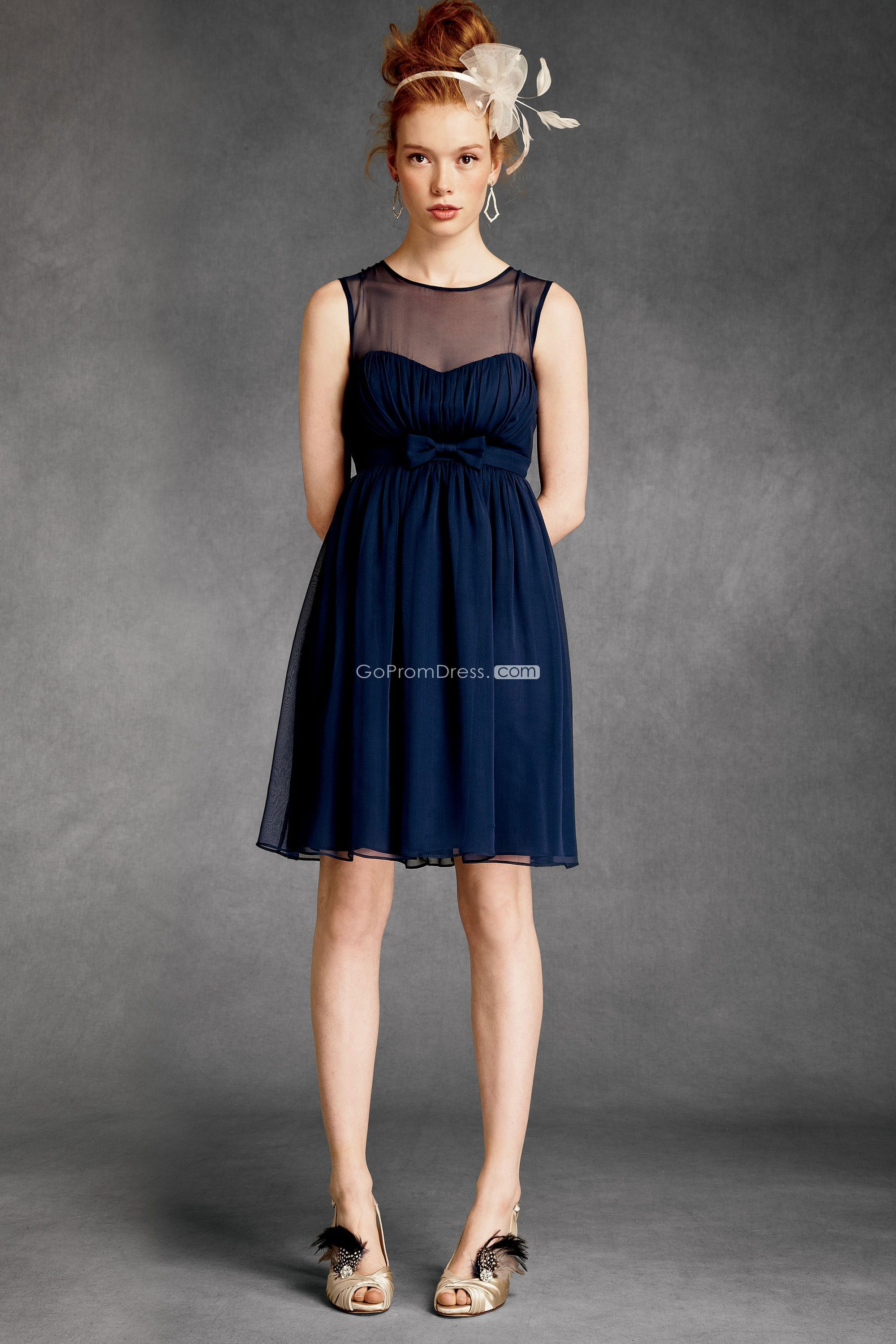Dark blue wedding dress  Chiffon Boat Neck With Bowknot Kneelength Bridesmaid Dress