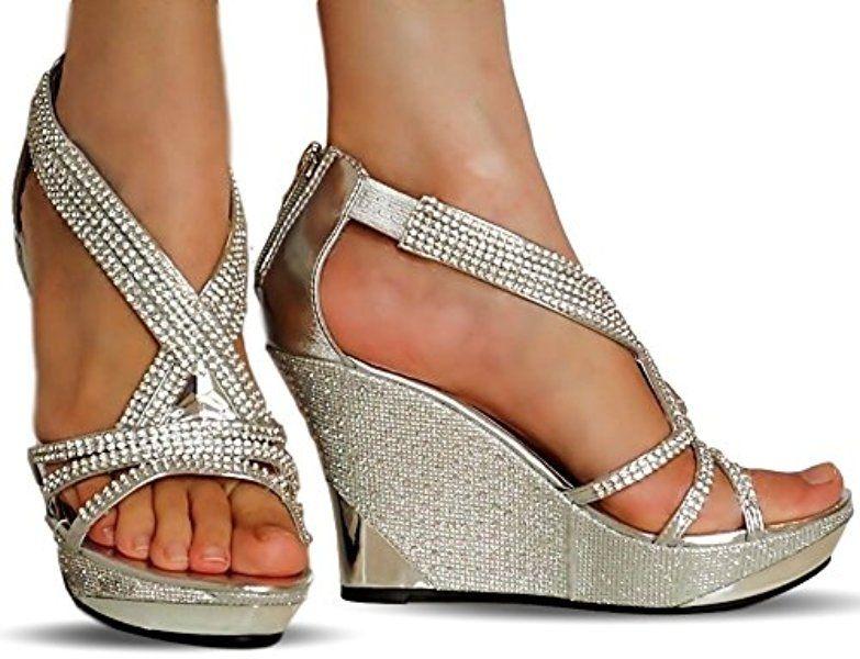Womens Ladies Mid High Platform Heel Wedge Sandals Diamante Open Toe Wedding New