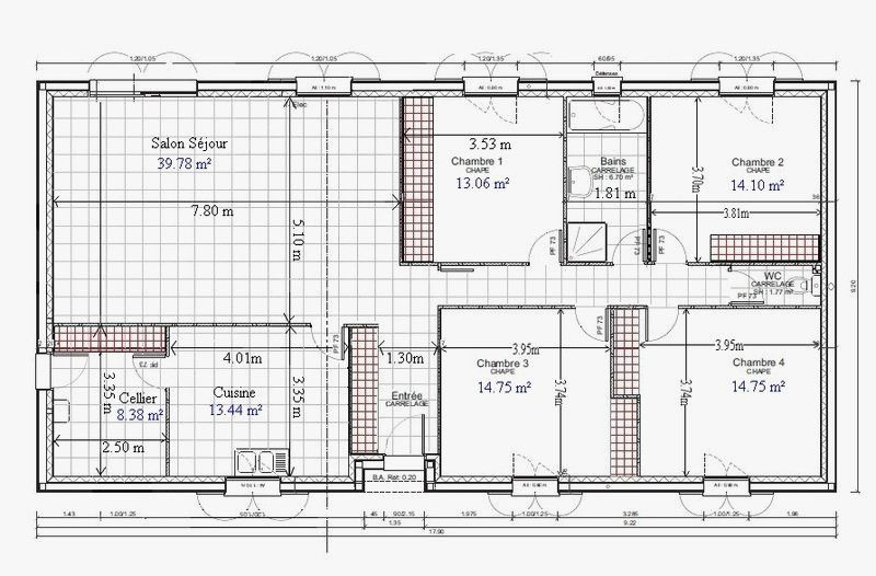 Plan Maison R 1 100m2 Frais Plan De Maison Plain Pied Gratuit 4 Chambres 1 Of Plan Maison R 1 100m2 Beau C Plan Maison Plain Pied Maison Plain Pied Plan Maison