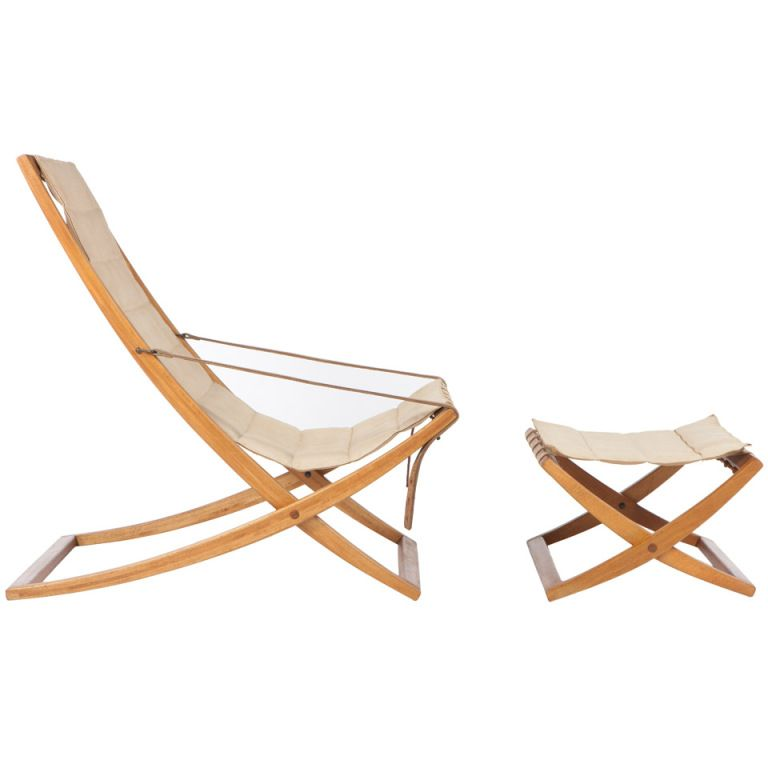 Poul Hundevad Folding Chair And Ottoman Living Room