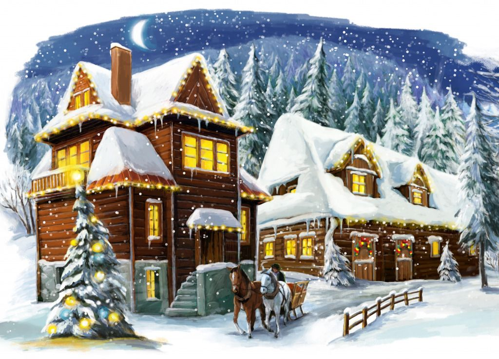 Winter Scene jigsaw puzzle in Puzzle of the Day puzzles on TheJigsawPuzzles.com  Winter scenes
