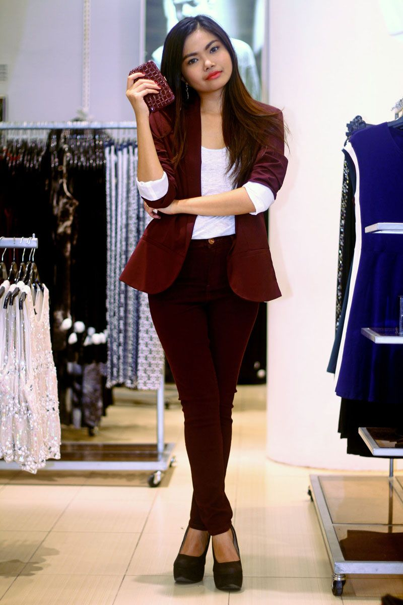 Bordeaux, Monochromatic, Boyfriend Blazer, autumn outfit, fall ...