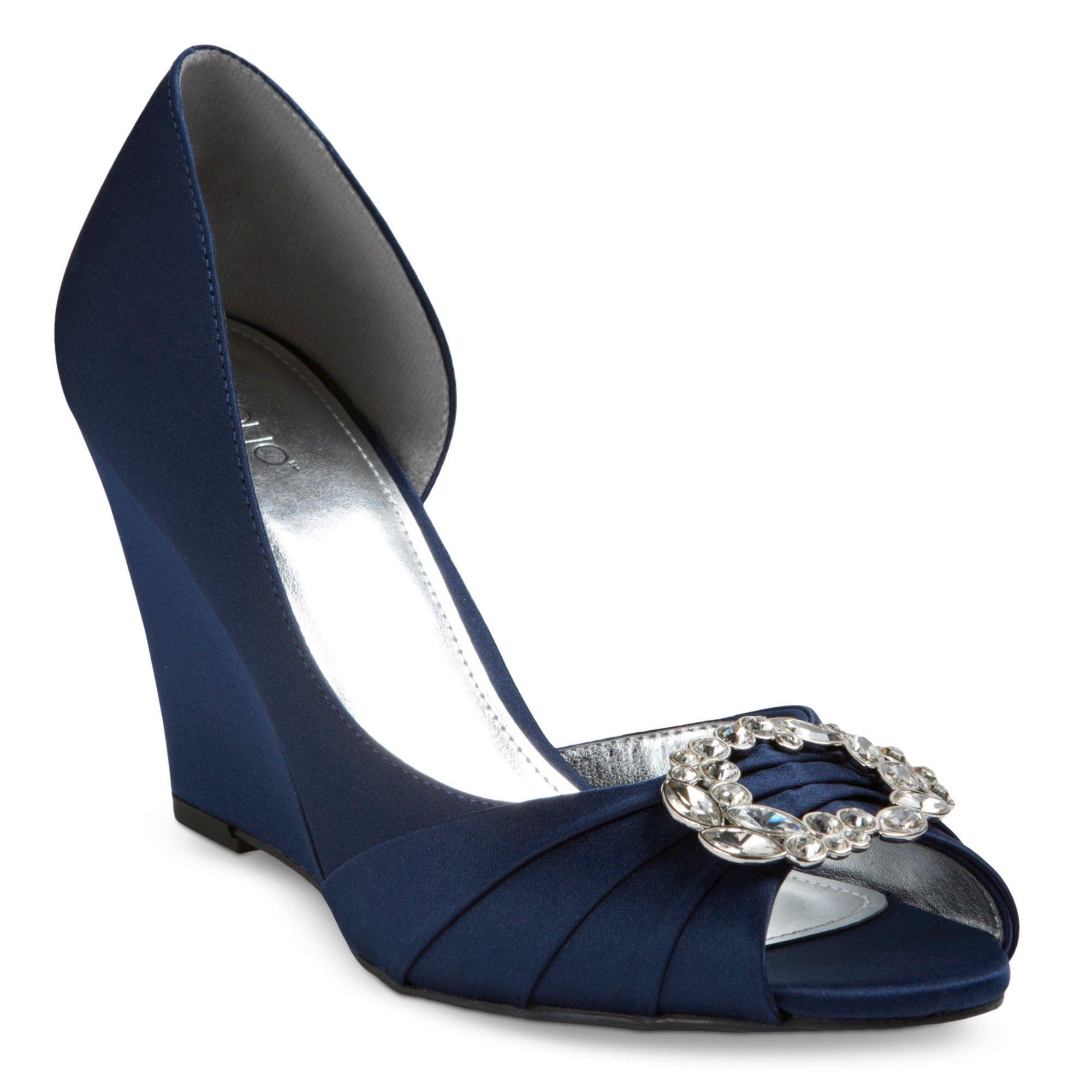 Navy blue dress shoes for wedding  Womenus Amalia Peep Toe Satin Wedge Pumps  Tevolio Navy Blue