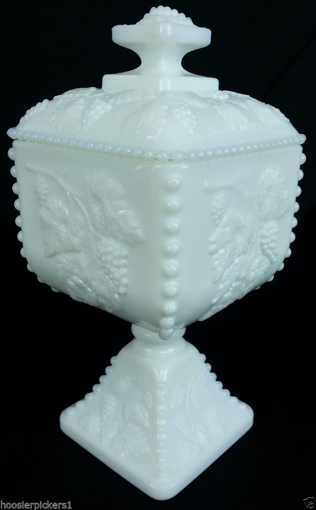 Westmoreland paneled grape covered Footed candy jar milk White glass signed 2