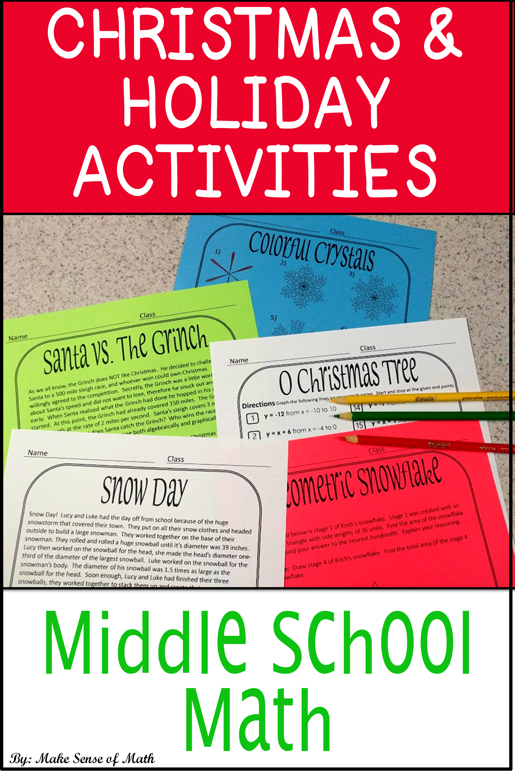 small resolution of Christmas Math Worksheets Activities   Holiday and Winter Math Activities    Maths activities middle school