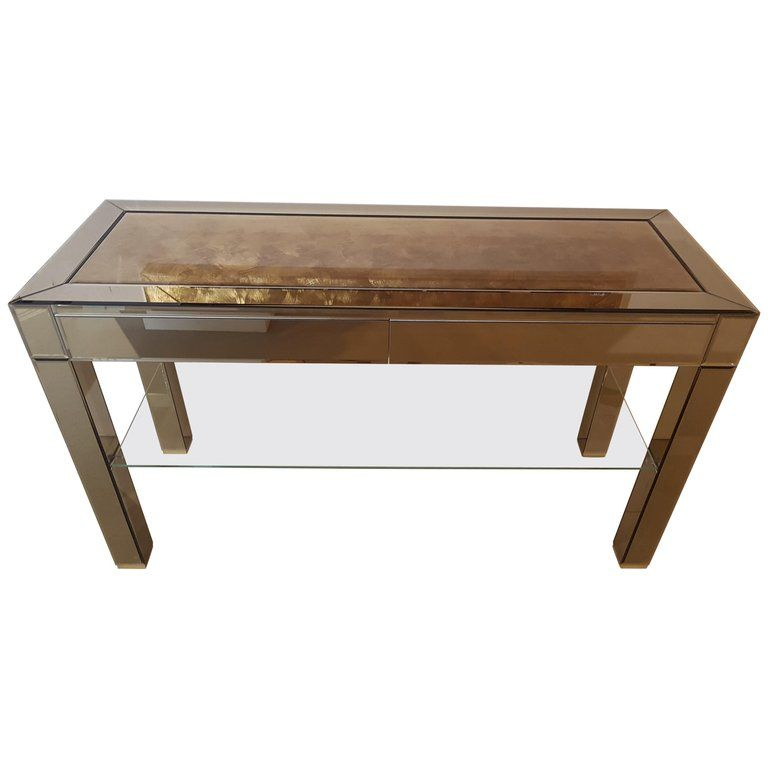 High End Mirrored Console Table With Gold Leaf Inserts Mirrored