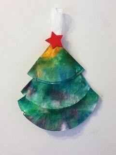 coffee filter Christmas tree sun catcher