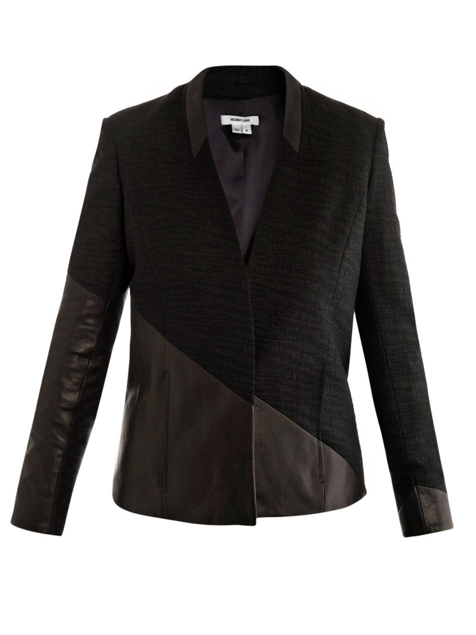 Helmut Lang  Asymmetrical leather panel blazer