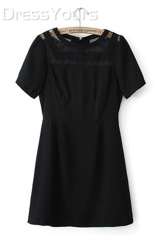 US$26.99 Modern Black Sheer Short Sleeve Back Zipper Day Dress. #Dresses #Dress #Zipper #Back