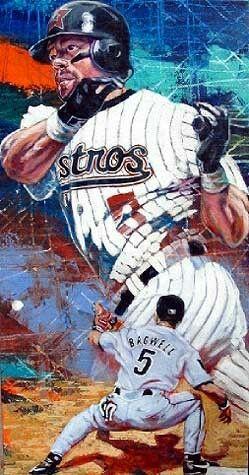 Jeff Bagwell Baseball Painting Baseball Art Church Of Baseball